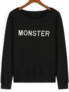 Black Round Neck MONSTER Embroidered Sweatshirt 12.99