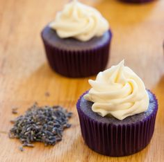 Lavender-Lemon Cupcakes with Honey Cream Cheese Frosting