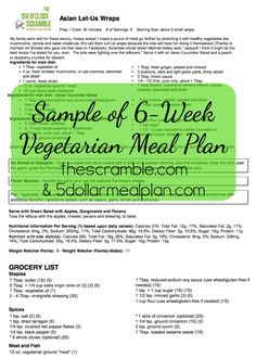 Sample of brand new Vegetarian Meal Plan Printables from The $5 Meal Plan & The Six O'Clock Scramble!