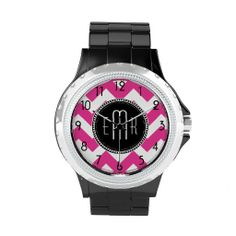 Hot Pink and White Chevron Zigzag Monogram Pattern #hotpinkchevrons #hotpinkzigzag #hotpinkmonograms