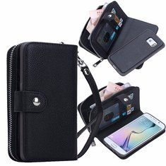 [US$13.99] Litchi Grain Leather Wallet Case Removable Zipper Card-slot Case for Samsung Galaxy S6 Edge Plus  #cardslot #case #edge #galaxy #grain #leather #litchi #plus #removable #samsung #wallet #zipper