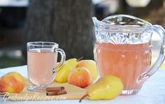 """Apple Pear with Cinnamon Stick Kompot (Russian fruit juice) - """"A combination of apples, pear and cinnamon makes tasty comforting homemade winter beverage. Serve with additional cinnamon sticks for stirring, if desired."""""""