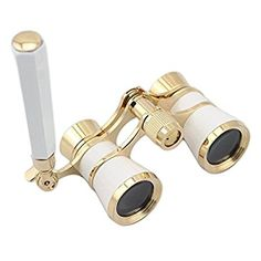 OPO Opera Theater Horse Racing Glasses Binocular Telescope with Handle (White with Gold Trim)