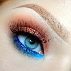 """""""Copper  Blue"""" By Kitulec using the Makeup Geek Cocoa Bear and Creme Brûlée eyeshadows, Electric gel liner and Vegas Lights pigment."""
