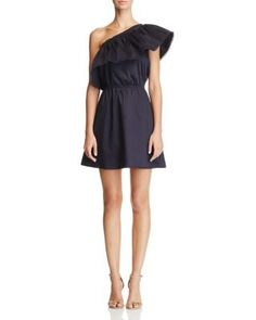 AQUA Ruffle One Shoulder Dress - 100% Exclusive   Bloomingdale's