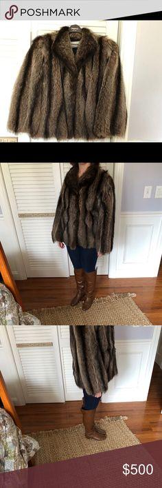 "Raccoon Fur Coat Size 10 Fun short raccoon fur coat. High quality w/a newer liner.   19"" wide-flat, 24"" sleeves, 26"" long. Jackets & Coats"