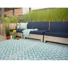 Fab Rugs World Marina Eggshell Blue Indoor/Outdoor Area Rug & Reviews | Wayfair