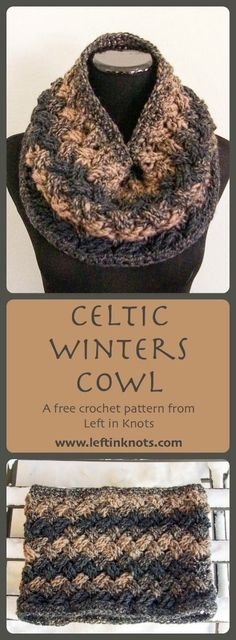 Class, style and luxury - you can find them all in the Celtic Winters Cowl. A free crochet pattern and number 5 in the Seven Days of Scarfie! Learn a new stitch with the help of a linked video tutorial, and make this elegant cowl with only one skein of