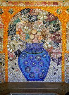 Garden mosaic design made from sea shells