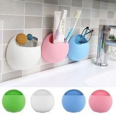 Home Bathroom Toothbrush Holder Wall Mount Suction Cup Toothpaste Storage Rack | eBay