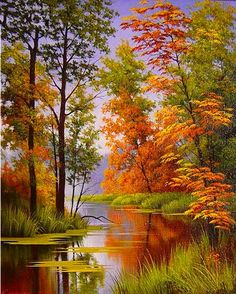 ideas for beautiful landscape paintings bob ross Fall Pictures, Pictures To Paint, Nature Pictures, Watercolor Landscape, Landscape Art, Landscape Pictures, Landscape Rocks, Landscape Fabric, Sunset Landscape