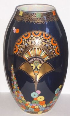 "CARLTON WARE ""EGYPTIAN FAN"" PATTERN ART DECO VASE BY VIOLET ELMER"