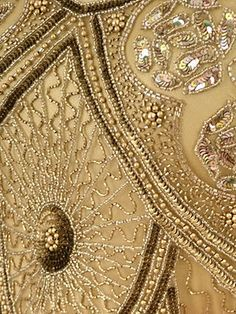 Vintage Gold Beaded Dress. Learn how to embroider goldwork like this from experts who work for Chanel, Louis Vuitton and more at https://www.mastered.com/course-listings/3