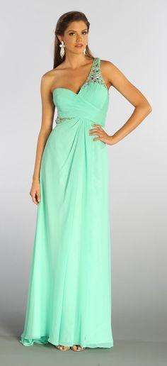 One Shoulder Chiffon Long Mint Prom Dress Illusion Back Beads 176,99$