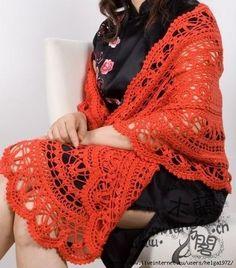 Deliziosa scialle rossa!!! Schema.