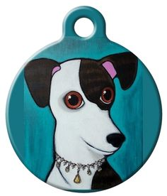 A Whippet/Greyhound wearing a bejewelled necklace. // https://www.dogtagart.com/dog-tags/lupine-microbatch-monkey-business
