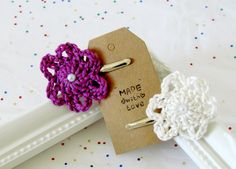 Baby Girl Hair Clips / Set Of 2 Flower Hair Clips by FairyOfColor, $5.90