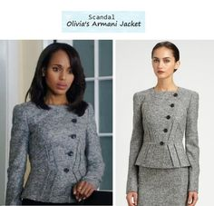 """Kerry Washington as Olivia Pope in Scandal - """"Top of The Hour"""" (Ep. 216). Looks like her jacket went on sale for over 50% off sold out here at Saks! Olivias Jacket: Armani Collezioni Micro Boucle Jacket $1255 $502 sold out 