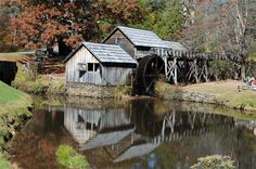 Mabry Mill is a historic water driven grist mill located on the Blue Ridge Parkway in Virginia. It was built in 1910, has been restored and is fully operational. Also on the grounds are a blacksmith shop, a one-room cabin, a bark mill, a sorghum mill and an old-time whiskey still.