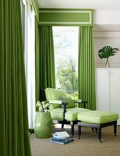 New living room green curtains products 51 ideas Living Room Green, Green Rooms, Bedroom Green, New Living Room, Living Room Decor, Dining Room, Cottage Living, Green Windows, Green Curtains