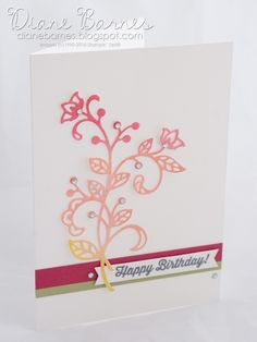 Birthday card using Stampin Up Flourish dies / Flourishing Phrases bundle & Birthday Banners stamp set. By Di Barnes # colourmehappy 2016-17 annual catalogue