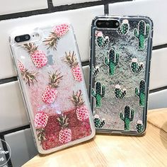 Hot Pineapple Cactus Bling Liquid Glitter Soft Case Cover For Iphone 6/6S/7 Plus
