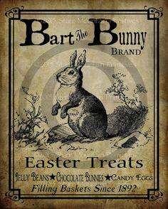 Primitive Vintage Bart Bunny Rabbit Chocolate by Starrmtnprims