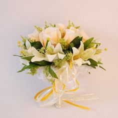 Elegant Hand Tied Roses and Lilies Wedding Bouquet with Ribbon and Wrapped Stem. Maybe red roses in the middle instead of white?