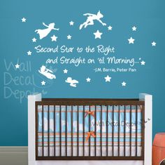 Vinyl wall decal sticker with the quote from Peter Pan - 'Second Star to the Right and Straight on til Morning'