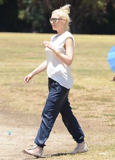 Gwen Stefani Displays Chic Soccer Mom Look with L.A.M.B. Sandals