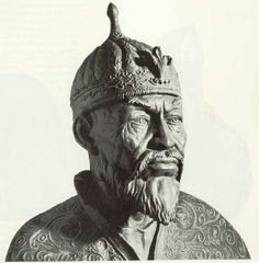 Timur (Tamerlan) middle Asian conquerer, who played a significant role in history of Asia, Caucasus, the founder of Timurid empire(1370). The bust has portrait resemblance, as it is made on basis of the scull bones of the emir. There is a legend that nobody can disturb Timur. Opening of his tomb will lead to a war. In 1941 Russian scientists studied mausoleum and opened the tomb to study the remnants and to make the portrait of Timur. Shortly the Nazi breached the boarder of the USSR.