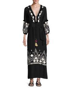 B3PER Figue Lola Embroidered Silk Maxi Dress, Black