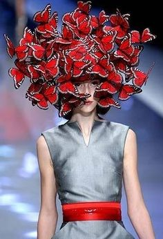 Philip Treacy red butterfly hat and I'm kind of obsessed with the look of silver and red