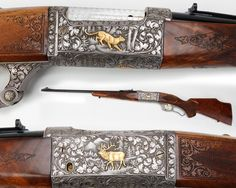 Presentation Engraved Savage 99 Rifle - This embellished lever-action is chambered for the .300 Savage cartridge. With deluxe checkering & gold inlays, it has deep relief engraving with a golden elk on one side of the receiver & a stalking cougar on the other. This rifle was given to Joseph V. Falcon from his friends at Savage in December of 1967. Falcon was the president of Savage in 1956 and just 11 years after he received this rifle, he donated it.