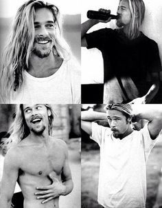 Brad Pitt looks best with that long hair! Gorgeous Men, Beautiful People, Hommes Sexy, Romantic Look, Man Bun, Raining Men, Good Looking Men, Leonardo Dicaprio, Jennifer Aniston