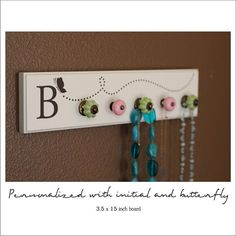 Jewelry Rack   Shabby Chic Style  Vinyl Initial and by loladecor, $34.00 I could make this for the kids