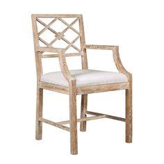 Solid oak; limed finish; drop-in linen seat.21 X 18.5 X 35H shopcandelabra  bungalow 5 chair