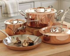 Mauviel M365 Copper 7-Piece Set. Williams Sonoma, 7-piece set $999.  Crafted in Normandy, France, Mauviel copper cookware is known for its performance and beauty.