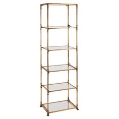 Showcase favorite objects d'art and heirloom serveware with this striking shelf, featuring a sleek metal frame and 5 mirrored tiers.   ...