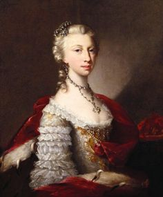 """""""Portrait of a Princess"""" by an unknown German artist (1740) in the Royal Collection, UK - From the curators' comments: """"The image can be dated to c. 1740 by the very distinctive lace sleeve, but neither sitter nor artist can be securely identified and both are more likely to be German than English. The sitter is shown in a richly laced embroidered dress and ermine-lined robe around her shoulders, wearing rich jewels in powdered hair, round neck and at breast; a coronet is placed to her…"""