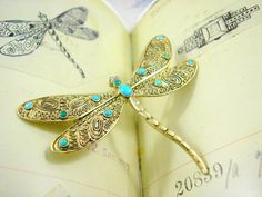 Theodor Fahrner Art Deco Brosche Libelle Buch von KittysJewelryBox