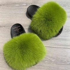 Lime Green Fox Fur Slides | Color: Green | Size: Various Fuzzy Slides, Cute Slides, Fluffy Shoes, Green Fur, Diy Gifts For Dad, Cute Sneakers, Hype Shoes, Cute Sandals, Pretty Shoes