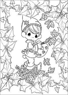 Eine kindliche Zeichnung eines Kindes Färbung im Herbst