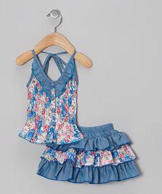 Blue Floral Halter Top & Skirt - Infant by Lele Vintage #zulily #zulilyfinds