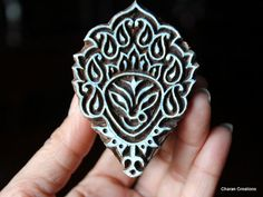 Indian Handmade wood stamps are a unique combination of Art, Skill & Functionality!    This one of a kind wood stamp features a custom designed,