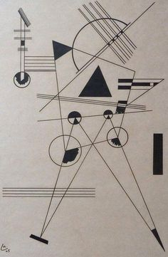WASSILY KANDINSKY Hand Signed Lithograph | I don't really see sound in this as much as his brighter ones. It is still good to see how he uses black  and white in his images.