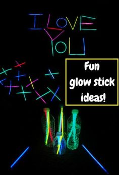 Having fun with glow sticks - with secret messages and bowling and more!