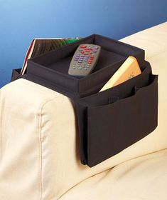Sets of 2 Black Arm Rest Tray Organizers Remote Couch Armchair 5 Roomy Pockets Magazine Organization, Bag Organization, Coffee Table Alternatives, Thing 1, Design Projects, Storage Spaces, Black And Brown, Armchair, Tray