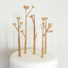 Heart Trees Cake Topper Set - Bamboo - Wedding Cake Topper - Rustic Wedding - Modern Wedding via Etsy