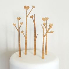 Heart Trees Cake Topper Set  Bamboo  Wedding Cake Topper  by Cabin, $40.00